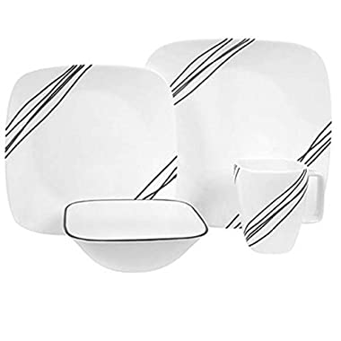 Corelle Squares Simple Sketch 1088188 16-Piece Dinnerware Square White Value Bundle