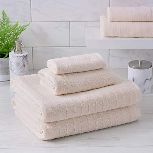 Welhome James 100% Cotton 6 Piece Towel Set | Blush Pink | Stripe Textured | Supersoft amp Durable | Highly Absorbent amp Quick Dry | Ideal for Everyday Use | 450 GSM | 2 Bath 2 Hand 2 Wash Towels