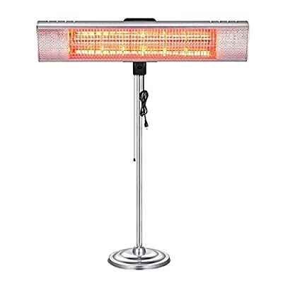 R.W.FLAME Electric Patio Heater, Electric Infrared Heater, Adjustable Standing/Outdoor Infrared Heater, Weather & Dust Proof, High Heat Efficiency, Waterproof IP65 Rated, Line Switch Control, 1500W