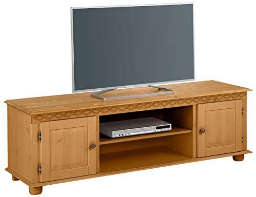 Lowboard TV Board Fernsehtisch Landhaus Fernsehschrank Kiefer Massivholz, Natur, 2 Türen, 2 Ablagefächer, 160 x 45 x 50 cm (gebeizt geölt)