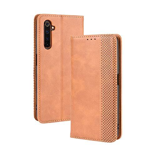 LAGUI Kompatible für Realme X50 Pro 5G Hülle, Leder Flip Hülle Schutzhülle für Handy mit Kartenfach Stand & Magnet Funktion als Brieftasche, braun