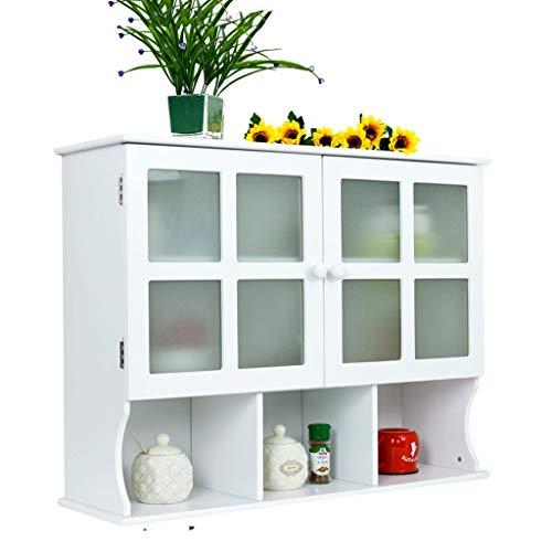 Küche lagerschrank Hause doppeltür medizinschrank Bad feuchtigkeitsdichten glastür Schrank, Montage (Color : Weiß, Size : 80 * 24.3 * 61cm)