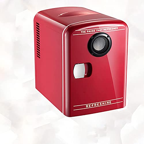 BIIII Mini nevera,Refrigerador de coche de audio Bluetooth 4 litros,Congelador compacto portátil de una sola puerta,Refrigerador personal