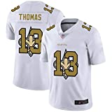 WOCTP Saints Football américain Jersey Thomas # 13, Rugby Jersey Jeu Fan Jersey Vêtements Sweat Formation T-Shirts à séchage Rapide à Manches Courtes White-L(180~185CM)