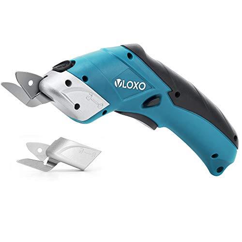 VLOXO Elektrische Schere Kabelloser Schneider mit 2 Schneidklingen für Handwerk zum Schneiden von Karton Leder Teppich Topfpflanze, Indigo MEHRWEG
