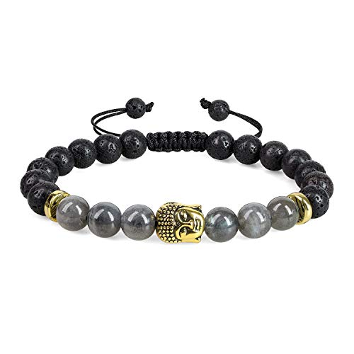 Peace9 Buddha Head Lava Bead and labradorite Bracelet for Aromatherapy Essential Oil Diffuser