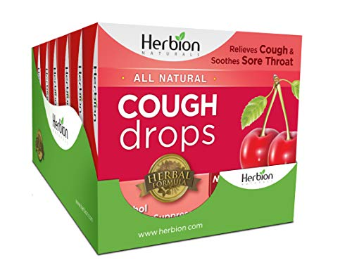 Herbion Naturals Herbal Cough Drops with Cherry Flavor 108 Drop Counts (6 Packs of 18 Counts) …