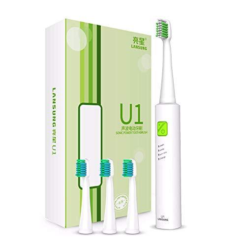 El mejor cepillo de dientes eléctrico de Sonic con cabezales de repuesto Cepillos de dientes electrónicos recargables por USB Cepillo de dientes eléctrico de higiene oral-Blanco