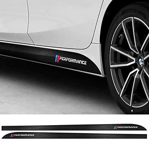 2 PCS Car Sticker Door Side Skirt Sill Stripe Body Decals Sticker Compatible with BMW G30 F10 F11 F01 F02 M Sticker Car Styling Accessories (230cm, 5D Carbon Fiber Style)