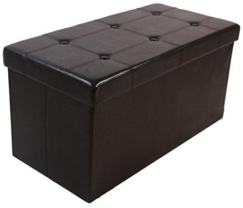 Kronenburg Ottomane 76 x 38 x 38 cm - Sitzbank Sitzwürfel Faltbar Aufbewahrungsbox bis 300 kg belastbar - Schwarz - Farbwahl