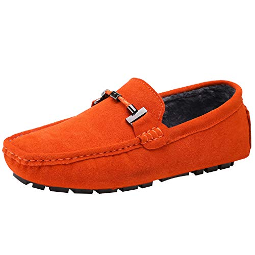 ANUFER Mens Elegant Buckle Loafers Comfort Suede Driving Shoes Stylish Moccasin Slippers Orange Plush SN19020-2 US11