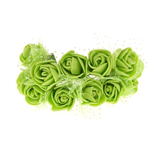 Fenteer Rosenköpfe 144 Stück Deko Rosen Lila Violett Foamrosen Kunstrosen Schaumrosen Rosenblätter Künstliche Blumen Streudeko Tischdeko Basteln Nähen - Grün, 2,5 x 1,5 cm