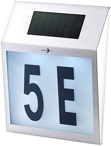 Lunartec Solar Hausnummer: Solar-LED-Hausnummernleuchte mit Edelstahl-Gehäuse und Licht-Sensor (Beleuchtete Hausnummer)