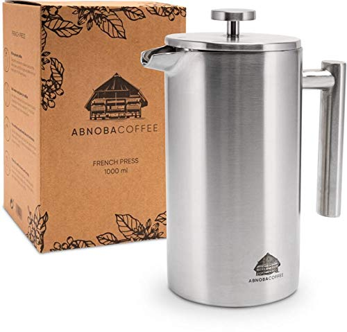 ABNOBACOFFEE French Press Edelstahl | doppelwandig isoliert| Kaffeepresse | Kaffeebereiter inkl. 3 Ersatzfilter (1,0 Liter)