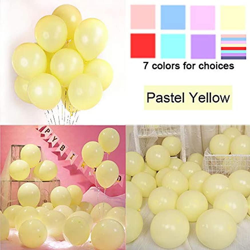 KOMOREBI Latex Pastel Balloons for Party 200 pcs 5 inch Macaron Balloons for Birthday Wedding Engagement Anniversary Christmas Festival Picnic or Any Friends & Family Party Decorations-Pastel Yellow