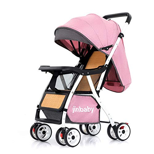 Kays Lightweight Stroller, Folding Umbrella Pushchair Summer Bamboo Rattan Wicker Chair From Birth To 3-5 Years, 0-15 Kg (Color : Pink)