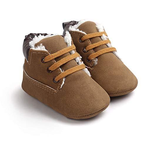 Bebe Zapatos de Primeros Pasos, Morbuy Invierno Niño y Niña 0-18 Meses Blanda Antideslizante Zapatos Recién Nacido Cuna Suela (1 / 11cm / 0-6 Meses, Marrón Oscuro más Terciopelo)
