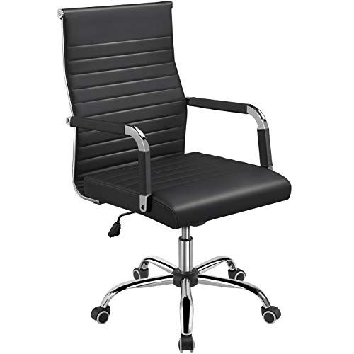 YAHEETECH High Back Office Chair Ribbed PU Leather Swivel Task Chairs, Ergonomic Adjustable Computer Chair with Armrest Black