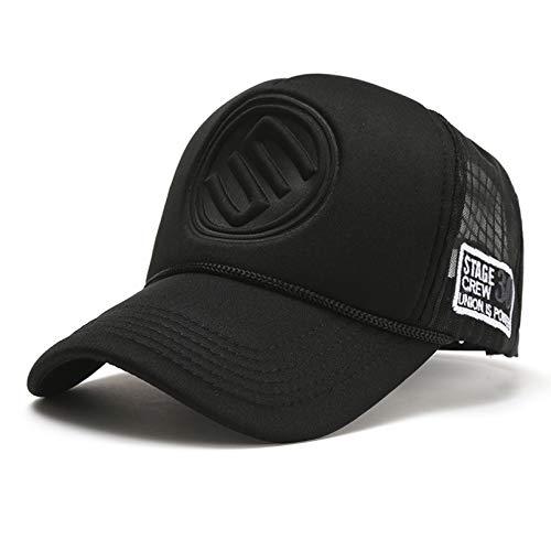gorra Gorras Beisbol Nuevo sombrero de camionero Hip Hop gorras de béisbol curvas para hombres y mujeres al aire libre en verano gorra snapback de malla para sombreros masculinos de hip hop,black 1