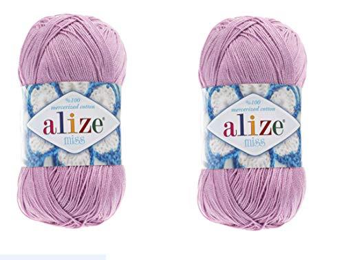 Alize Miss Yarn 100% Mercerized Cotton Yarn Lot of 2 skn 100 gr 610 yds Thread Crochet Lace Hand Knitting Craft Art Yarn (474 - Lilac)