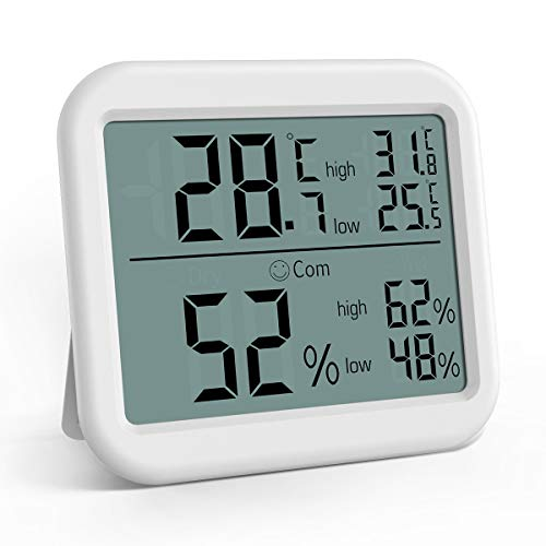 Brifit Thermometer Hygrometer, Raumthermometer, Thermometer Innen, Thermo-Hygrometer mit hohen Genauigkeit, Luftfeuchtigkeitsmessgerät, Thermometer Hygrometer Innen für Babyraum, Wohnzimmer, Büro