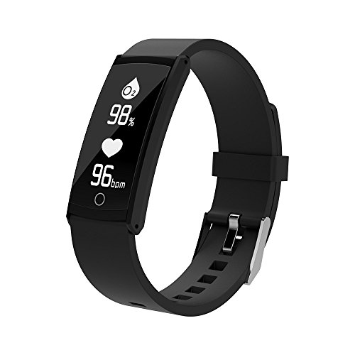 Yumimi88 Fitness Tracker,Wasserdicht Fitness Armband mit Pulsmesser Zoll Farbbildschirm Smartwatch Aktivitätstracker Pulsuhren Schrittzaehler Uhr Smart Watch Fitness Uhr für Damen Herren (Schwarz)
