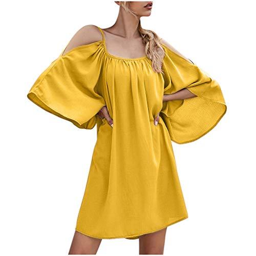Laternenhülse Minikleid Rückenfreies Partykleid Halbarm Cocktailkleid Elegante Hochzeitskleid Elecenty Solid Abendkleid O-Ausschnitt Strandkleid Loose Blusekleid Damen Schulterkleid