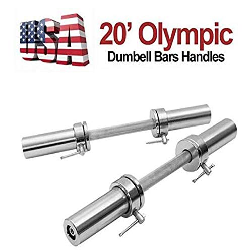 """DDKK 1 Pair of Olympic 2"""" Barbell Solid Color Silver Dumbbell Weight Lifting Bars with Rotating Sleeves for Men Women Fitness Home Indoor"""