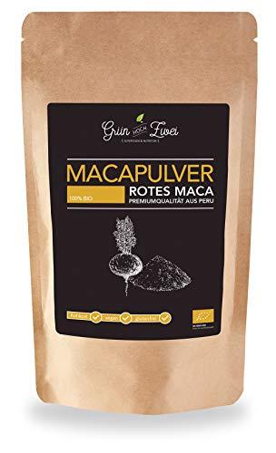 Bio Maca Pulver rot 200 g Premium Auslese von GrünHochZwei | Superfood in kontrollierter Qualität aus Südamerika (Peru) | Rotes Macapulver -