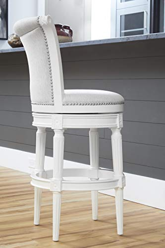 NewRidge Home Goods NewRidge Home Chapman Bar Height Swivel Bar Stool White (NR107103-FBS-AW)