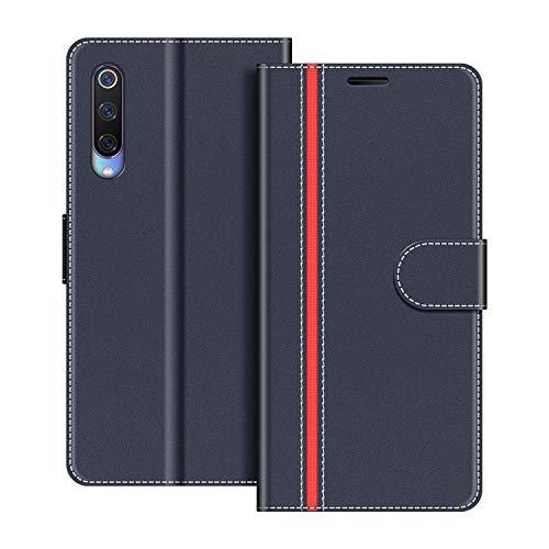 COODIO Handyhülle für Xiaomi Mi 9 Handy Hülle, Xiaomi Mi 9 Hülle Leder Handytasche für Xiaomi Mi 9 Klapphülle Tasche, Dunkel Blau/Rot