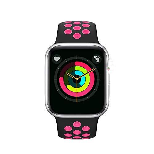 FUNSHINNY Smart Watches iWo 12 Pro Series 5 Smart Watch 44mm SmartWatch Bluetooth IP68 Impermeable Sport Watch Rastreador de Fitness (Color : 玫银)