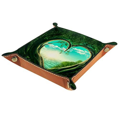 Bandeja de Cuero árboles verdes que forman corazón Almacenamiento Bandeja Organizador Bandeja de Almacenamiento Multifunción de Piel para Relojes,Llaves
