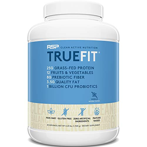 RSP TRUEFIT - Protein Powder Meal Replacement Shake, Grass-Fed, Organic Real Food, Probiotics, MCT Oil, Non-GMO, Gluten Free, No Artificial Sweeteners, 4 LB Vanilla