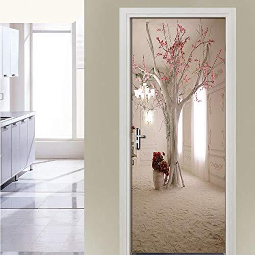 TMANQ 3D Door Sticker For Interior Door 77X200Cm Cherry Tree Creativity Removable Murals Wallpaper For Bedroom Living Room Gift Art Pvc Waterproof Decal Door Home Decoration