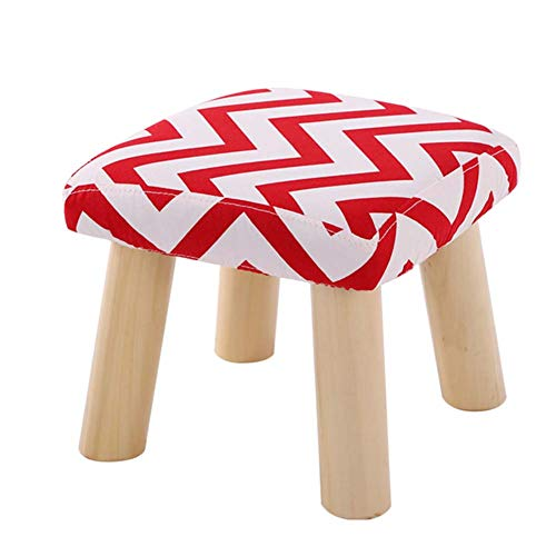WZNING Stool Footstool Shoe Bench Sofa Stool Change Shoe Bench Solid Wood Cotton And Linen Shoes, Wash And Wash, Ayong Small Stool (Color : Round, Size : Striped yellow cloth)