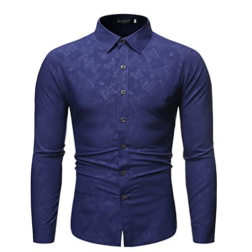 Camisa Estampada con Solapa para Hombre Moda Simple Clásico Casual Trabajo de Oficina Tendencia Diaria Camisas básicas de Manga Larga de Todo fósforo XXL