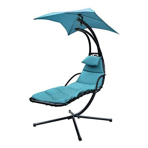 SUPER DEAL Chaise Lounger Hanging Chair Arc Stand Air Porch Swing Hammock Chair w/Canopy Umbrella and Stand, Teal