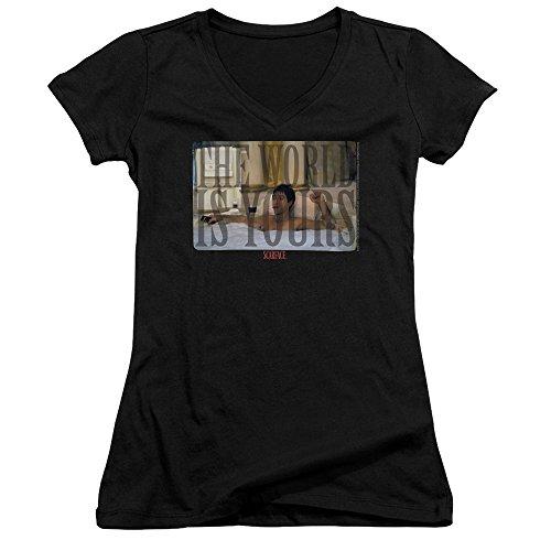 Scarface - Frauen mit V-Ausschnitt T-Shirt Badewanne, XX-Large, Black