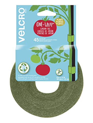 VELCRO Brand VEL-30088-AMS - Corbatas de jardín para tomates, flores o verduras en camas elevadas, 45 precortadas, 20,32 x 1,27 cm, color verde, plástico reciclado
