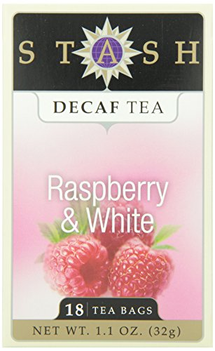 Stash Tea Decaf Raspberry & White Tea 18 Count Tea Bags in Foil (Pack of 6) Individual Decaffeinated White Tea Bags for Use in Teapots Mugs or Cups, Brew Hot Tea or Iced Tea