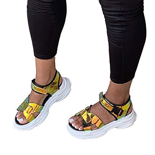 ZYGF Frauen Sandalen, Sandalen für Frauen Dicker Boden Atmungsaktiv und Leicht Damen Bequeme Walking Sandalen rutschfest für Strand, Pool, Kreuzfahrt, Reisen