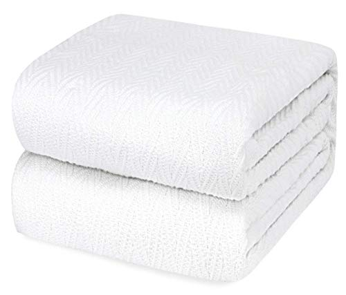 Luxury Thermal Cotton Blankets, Queen Size - 100% Soft Cotton Throw Blankets for Bed or Couch -...