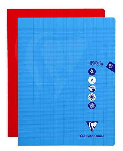 Clairefontaine 303327C - Un cahier piqué de travaux pratiques Mimesys 80 pages 24x32 cm grands carreaux 90g et uni blanc 125g, couverture polypro (plastique), couleur aléatoire