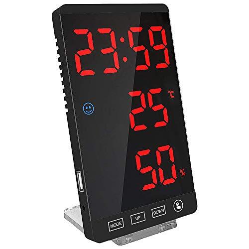 Cobeky Reloj despertador digital, pantalla LED grande, reloj electrónico con detección de temperatura, moderno espejo de escritorio, reloj de pared