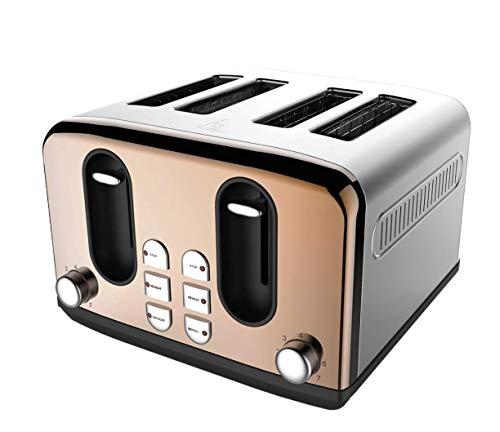 Tostadora moderna y contemporánea con efecto de cobre de 4 rebanadas con funciones de descongelación y recalentamiento, diseñada con una bandeja deslizante para migas