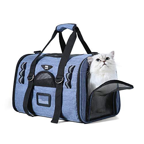 NOBLE DUCK Trasportino Gatto Cane Aereo Morbido Borsa per Cani Gatti Animali Ripiegabile Treno Auto Blu