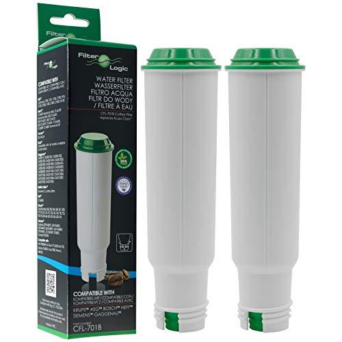 2 x FilterLogic CFL-701B - Filtro de agua reemplaza el cartucho CLARIS para Krups / Bosch / Siemens / Neff / Gaggenau / AEG / Melitta Cafetera automática - Máquina de café - Superautomática