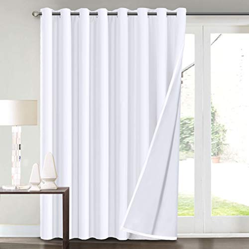 """100% Blackout Curtains for Living Room Extra Wide Blackout Curtains for Patio Doors Double Layer Lined Drapes for Double Window Thermal Insulated Curtains/Draperis - Pure White, 100"""" x 84"""""""