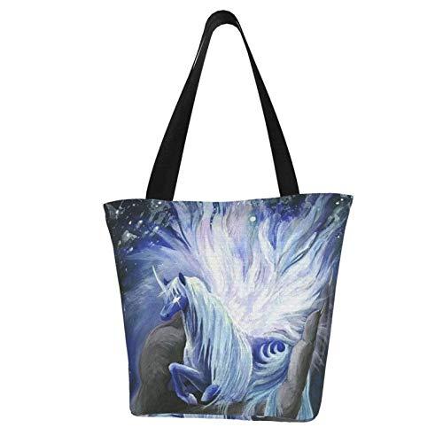 Mini-Handtasche mit süßem Einhorn-Pferd und magischem Kunst-Thema, bedruckte Damen-Handtasche mit Reißverschluss, Schultertasche, Arbeit, Büchertasche, Freizeit, Hobo-Tasche zum Einkaufen